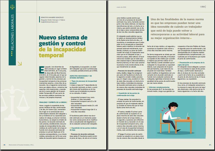 Nuevo sistema de gestion y control de la incapacidad temporal - Revista Observatorio de RR.HH. - Enero 2016