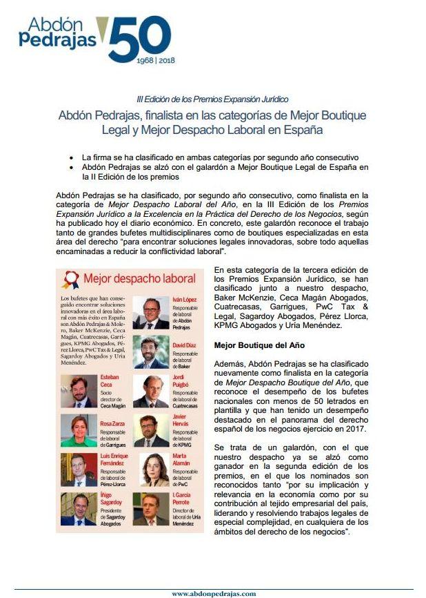 Abdón Pedrajas, finalista en las categorías de Mejor Boutique Legal y Mejor Despacho Laboral en España - III Edición de los Premios Expansión Jurídico.