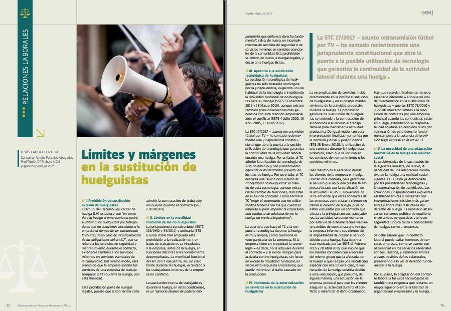 Límites y márgenes en la sustitución de huelguistas