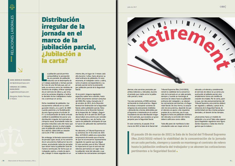 Distribución irregular de la jornada en el marco de la jubilación parcial, ¿Jubilación a la carta?