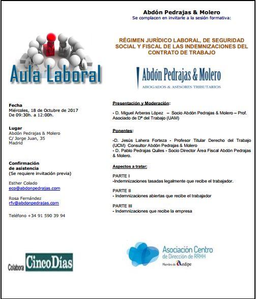 Sesión Aula Laboral - Régimen Jurídico Laboral, de Seguridad Social y Fiscal de las Indemnizaciones del Contrato de Trabajo