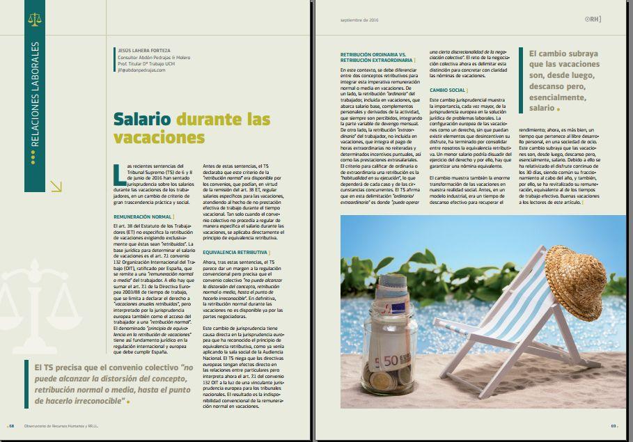 Salario durante las vacaciones - Revista Observatorio de RR.HH. - Septiembre 2016