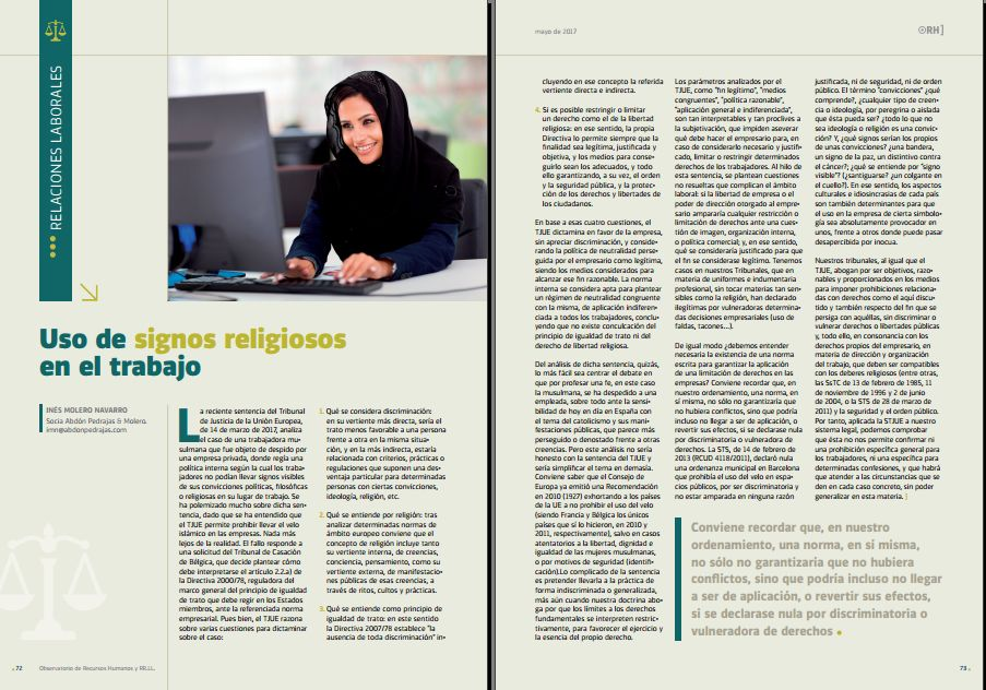 Uso de signos religiosos en el trabajo - Revista Observatorio RR.HH. - Mayo 2017