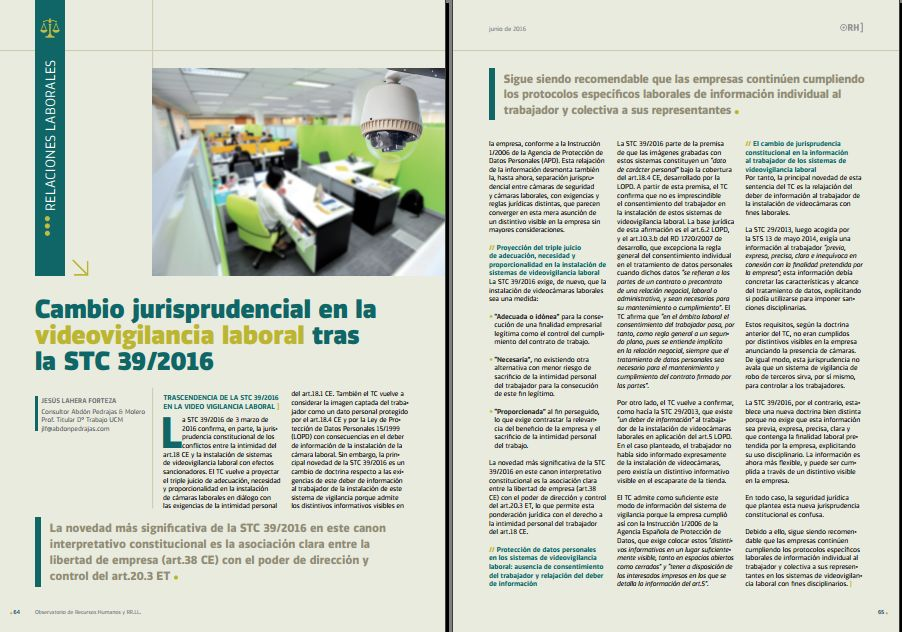 Cambio Jurisprudencial en la Videovigilancia Laboral tras la STC 39/2016 - Revista Observatorio de RR.HH. - Junio 2016