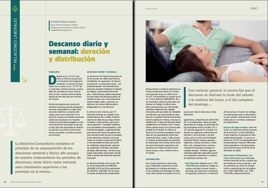 Descanso diario y semanal: duración y distribución - Revista Observatorio RR.HH. - Enero 2017