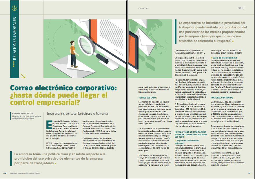 Correo electrónico corporativo: ¿hasta dónde puede llegar el control empresarial? Revista Observatorio de RR.HH. - Julio 2016