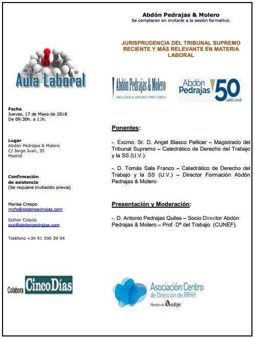 Sesión Aula Laboral - Jurisprudencia del TS Reciente y más Relevante en Materia Laboral