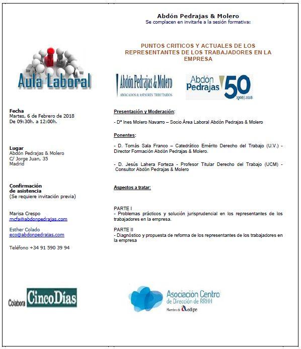 Sesión Aula Laboral - PUNTOS CRÍTICOS Y ACTUALES DE LOS REPRESENTANTES DE LOS TRABAJADORES EN LA EMPRESA