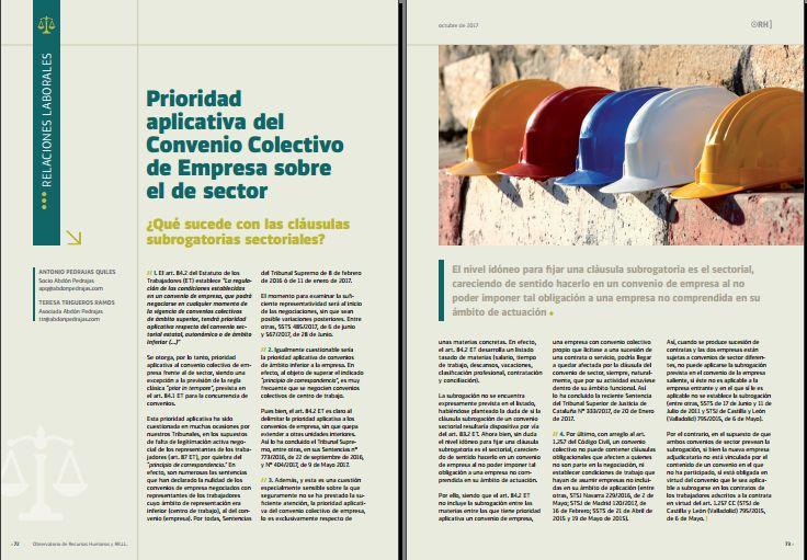 Prioridad aplicativa del Convenio Colectivo de Empresa sobre el de Sector. ¿Qué sucede con las cláusulas subrogatorias sectoriales?.