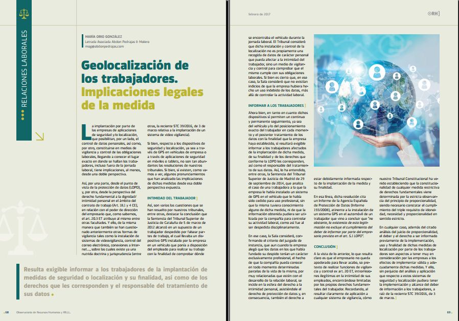 Geolocalización de los trabajadores. Implicaciones legales de la medida - Revista Observatorio RR.HH. - Febrero 2017
