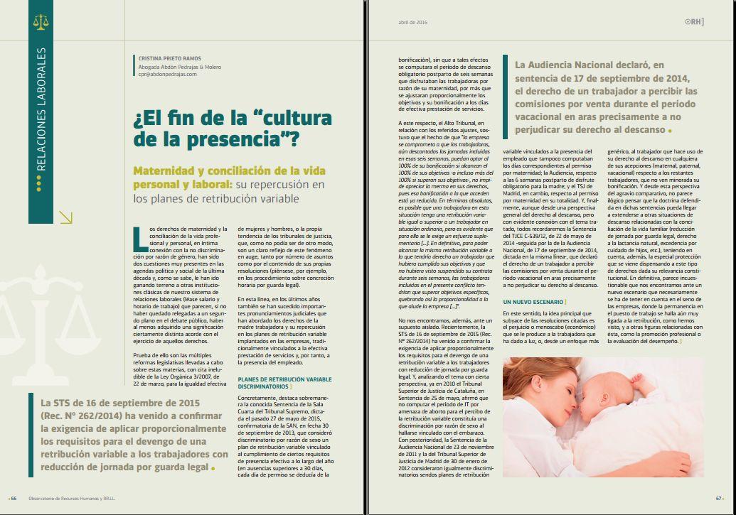 """¿El fin de la """"cultura de la presencia? - Revista Observatorio RR.HH. - Abril 2016"""