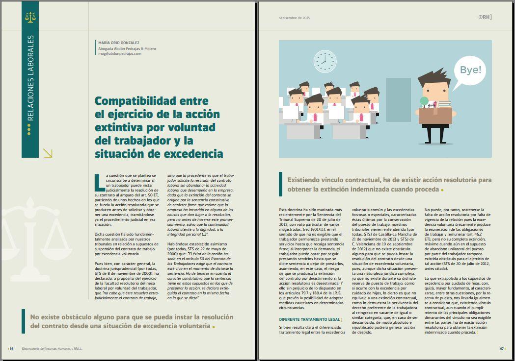 Compatibilidad entre el ejercicio de la acción extintiva por voluntad del trabajador y la situación de excedencia. Revista Observatorio de RR.HH. nº 104 - Septiembre 2015