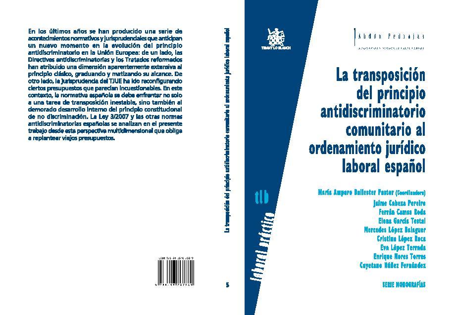 La transposición del principio antidiscriminatorio comunitario al ordenamiento jurídico laboral español