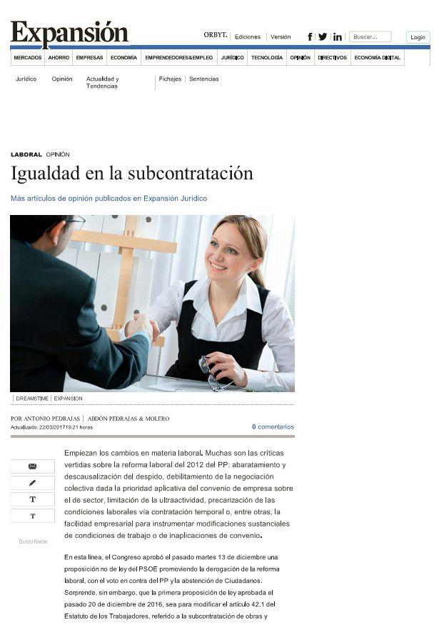 Artículo de Opinión - Igualdad en la subcontratación