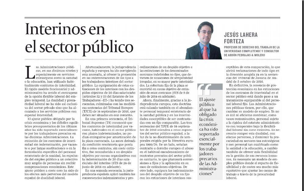 Artículo de Opinión - Interinos en el Sector Público