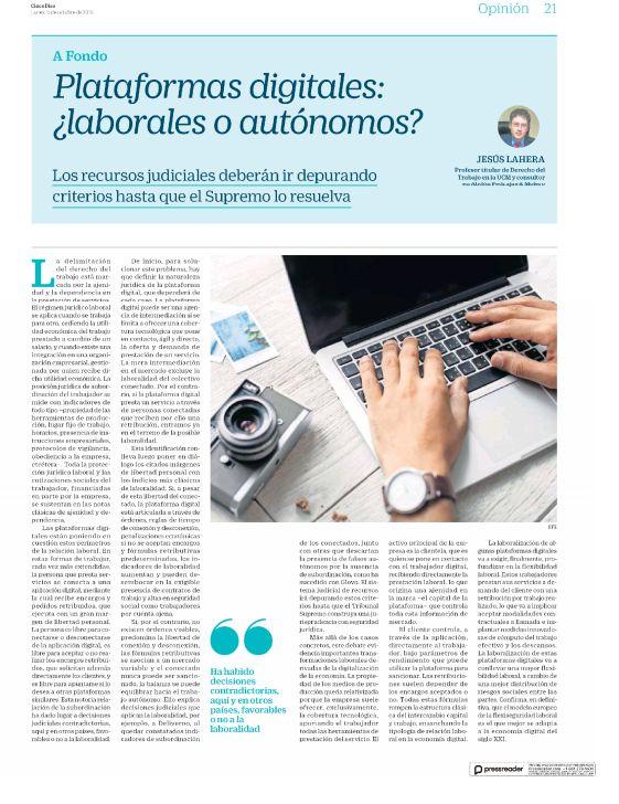 Plataformas digitales: ¿laborales o autónomos?