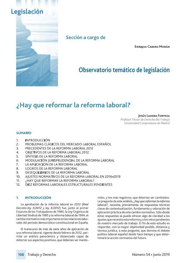 ¿Hay que reformar la reforma laboral?