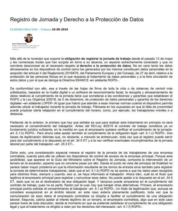 Registro de Jornada y Derecho a la Protección de Datos - Tribuna - ElDerecho