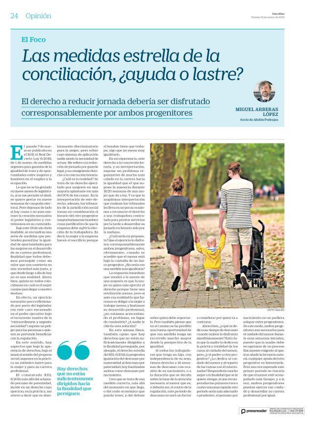 Las medidas estrella de la conciliación, ¿ayuda o lastre?. El derecho a reducir jornada debería ser disfrutado corresponsablemente por ambos progenitores.