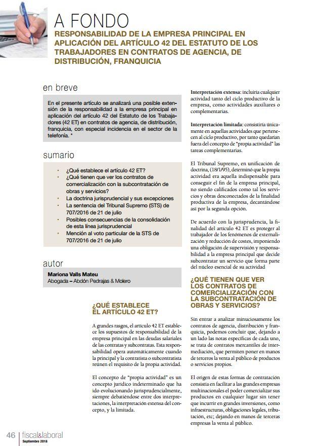 Responsabilidad de la empresa principal en aplicación del Art. 42 ET en contratos de agencia, de distribución, franquicia