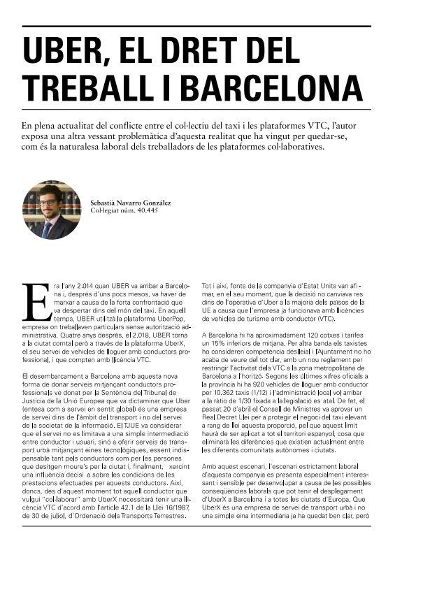 UBER, El Dret del Treball i Barcelona