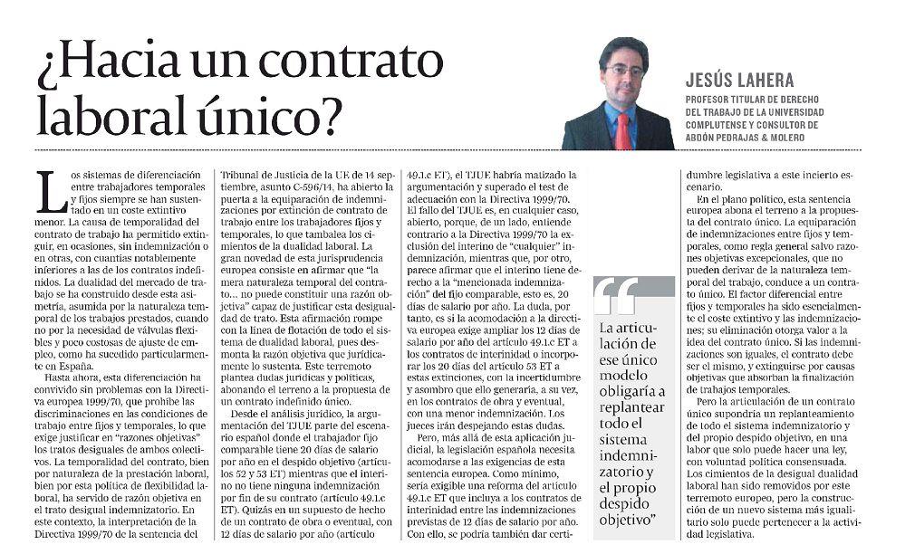 Artículo de Opinión - ¿Hacia un contrato laboral único?