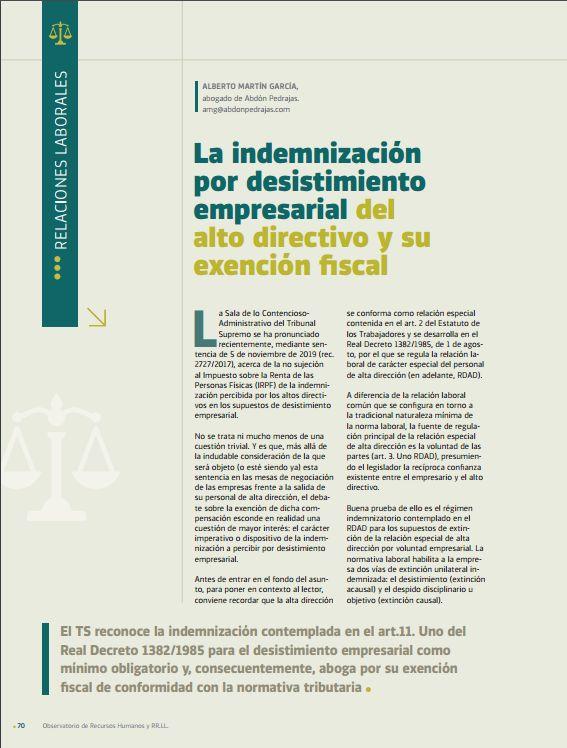 La indemnización por desistimiento empresarial del alto directivo y su exención fiscal