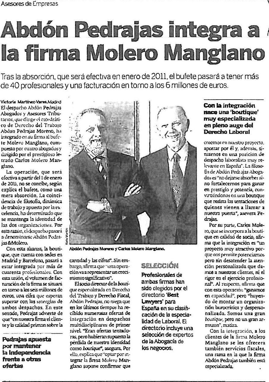 ABDÓN PEDRAJAS INTEGRA A LA FIRMA MOLERO MANGLANO