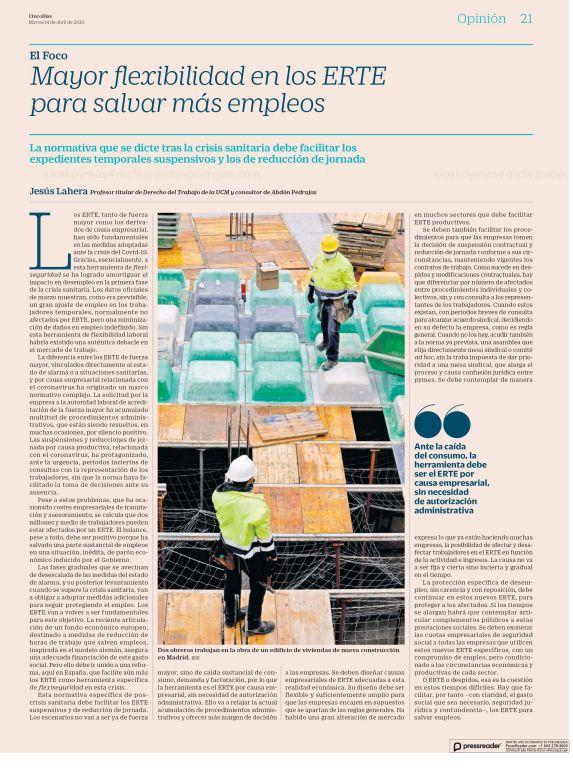 Mayor flexibilidad en los ERTE para salvar más empleos