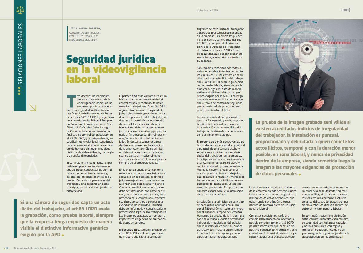 Seguridad Jurídica en la videovigilancia laboral