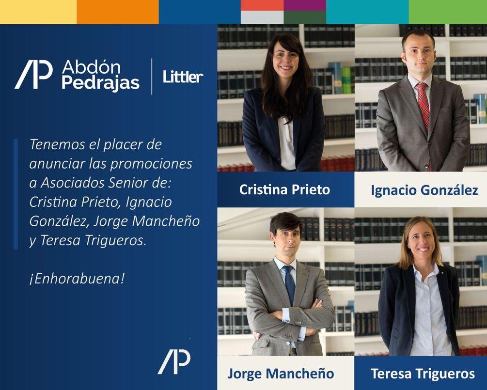 Tenemos el placer de anunciar las promociones a Asociados Senior de: Cristina Prieto, Ignacio González, Jorge Mancheño y Teresa Trigueros. ¡Enhorabuena!.