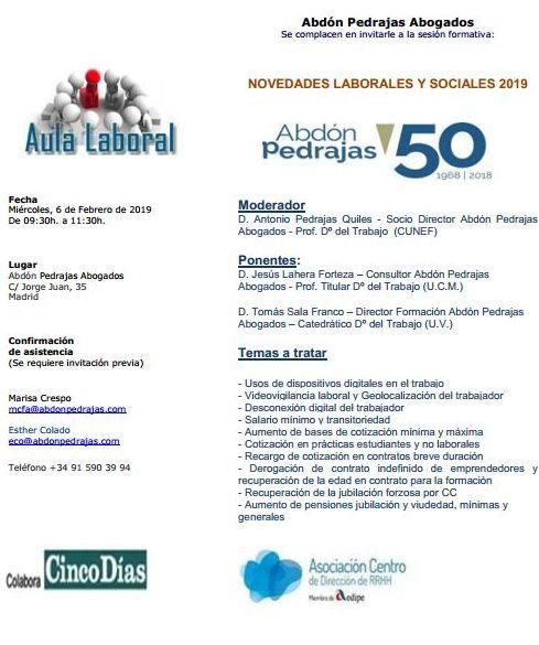 Sesión Aula Laboral - Novedades Laborales y Sociales 2019