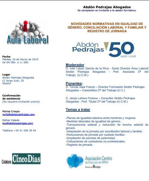 Sesión Aula Laboral - Novedades Normativas en Igualdad de Género, Conciliación Laboral y Familiar y Registro de Jornada