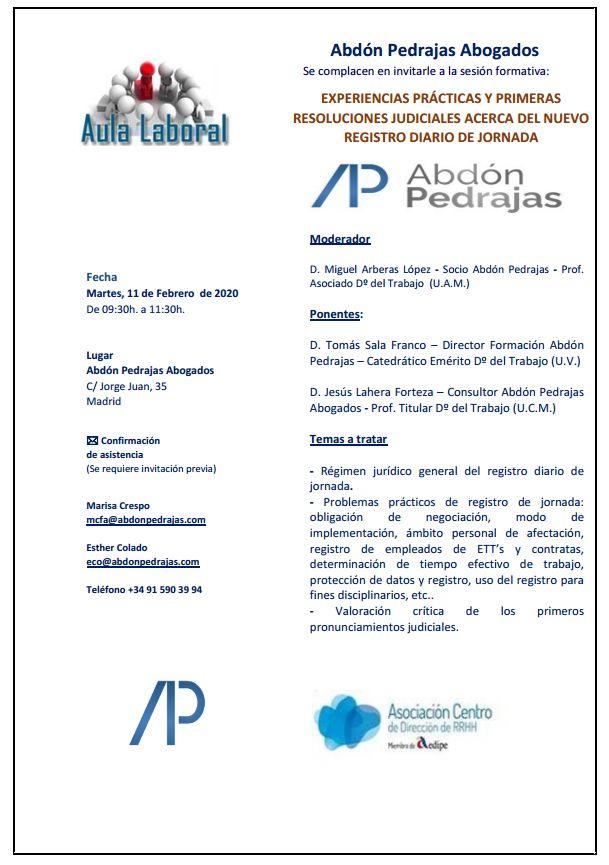 Sesión Aula Laboral - Experiencias Prácticas y Primeras Resoluciones Judiciales Acerca del Nuevo Registro Diario de Jornada