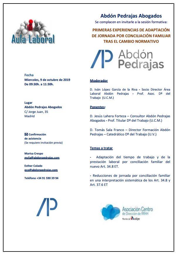 Sesión Aula Laboral - Primeras Experiencias de Adaptación de Jornada por Conciliación Familiar tras el Cambio Normativo