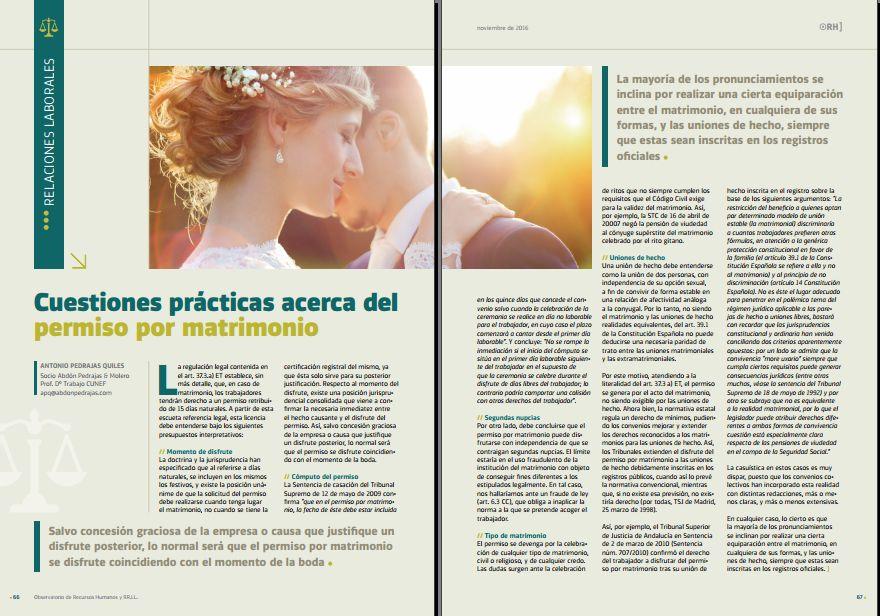 Cuestiones prácticas acerca del permiso por matrimonio - Revista Observatorio RR.HH. - Noviembre 2016