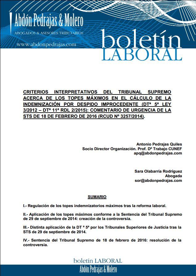 Acerca de los topes máximos en el cálculo de la indemnización por despido improcedente - STS 18-02-16
