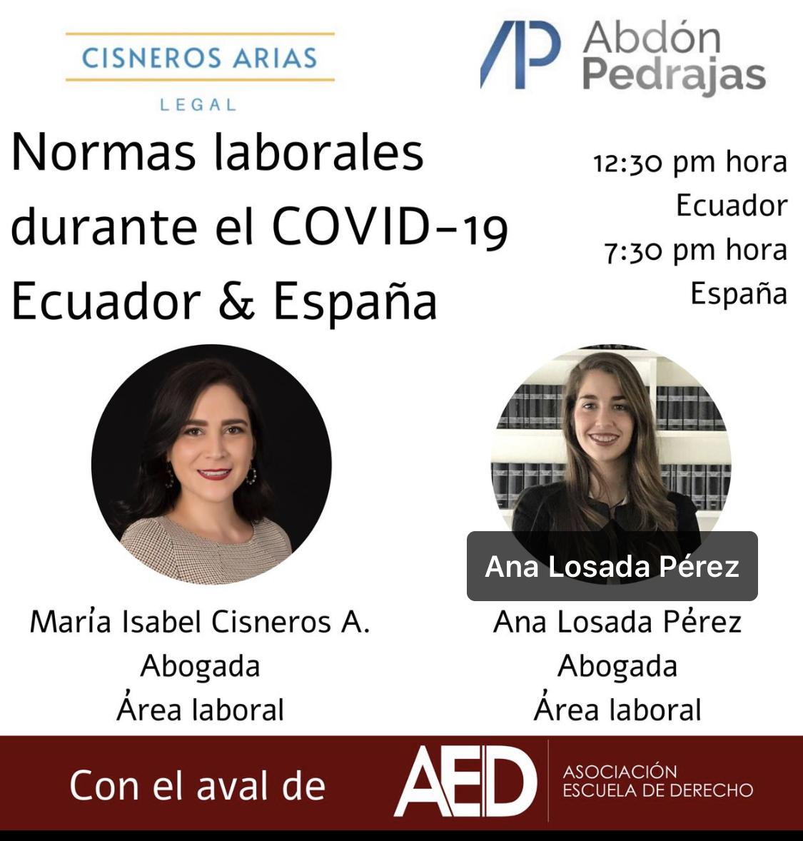 Normas Laborales durante el COVID-19: Ecuador & España. – WEBINAR 23 JULIO A LAS 19: 30 H.