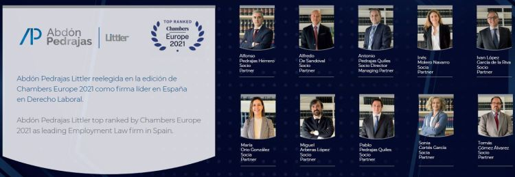 Abdón Pedrajas Littler top ranked by Chambers Europe 2021 as leading Employment Law firm in Spain