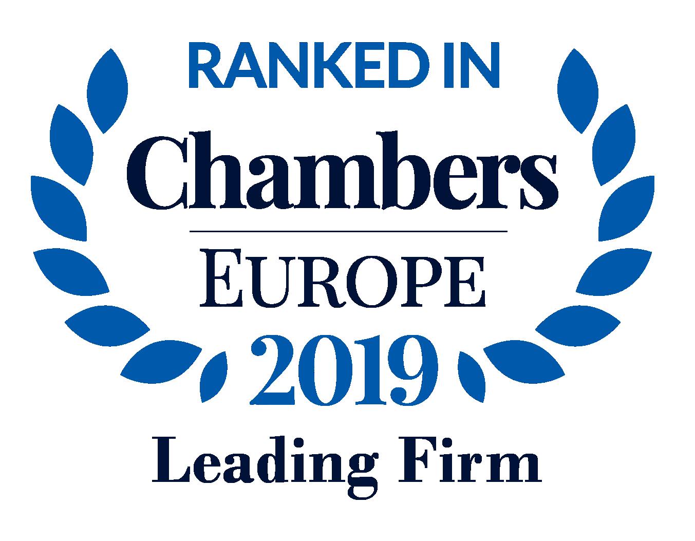 Abdón Pedrajas, reconocida en la Banda 2 por su práctica de Derecho Laboral, por Chambers & Partners Europe 2019.