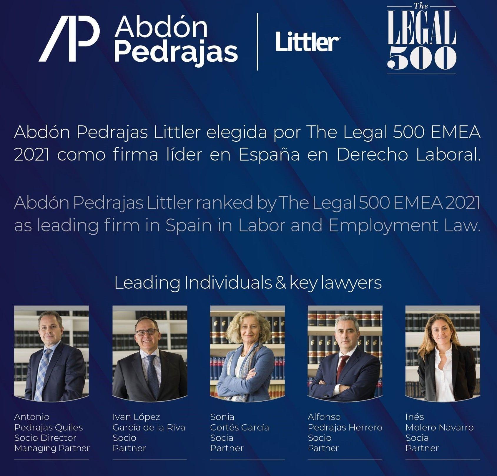 Abdón Pedrajas Littler elegida por The Legal 500 EMEA 2021 como firma líder en España en Derecho Laboral.