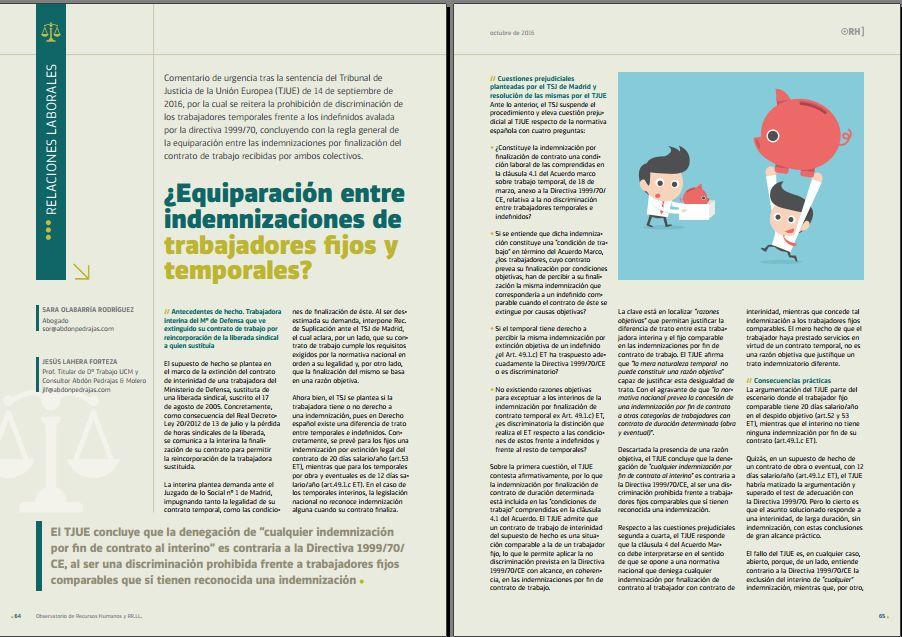 ¿Equiparación entre indemnizaciones de trabajadores fijos y temporales? - Revista Observatorio RR.HH. - Octubre 2016