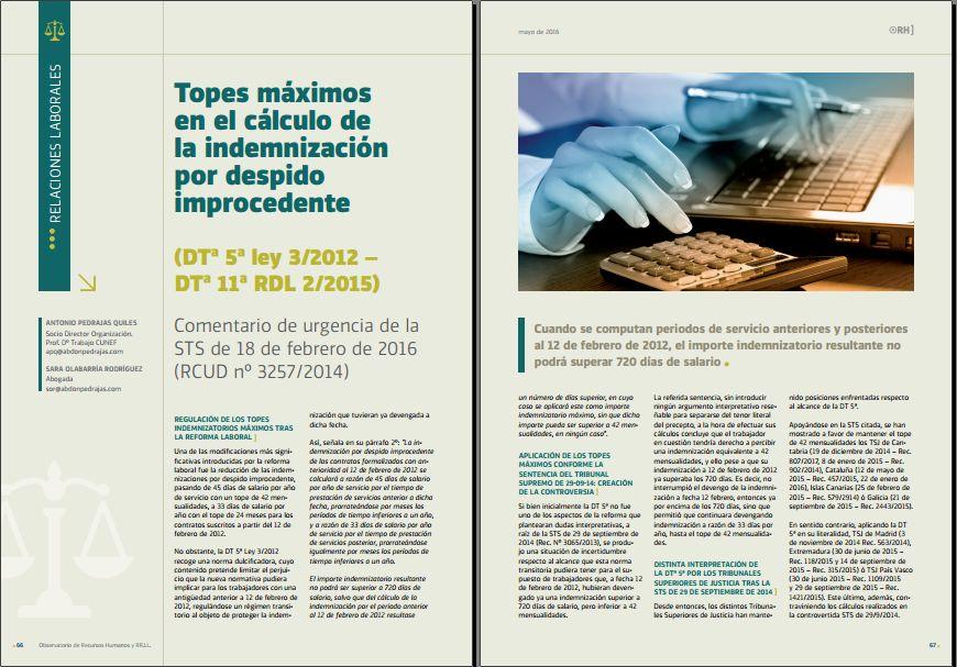 Topes máximos en el cálculo de la indemnización por despido improcedente - Revista Observatorio de RR.HH. - Mayo 2016