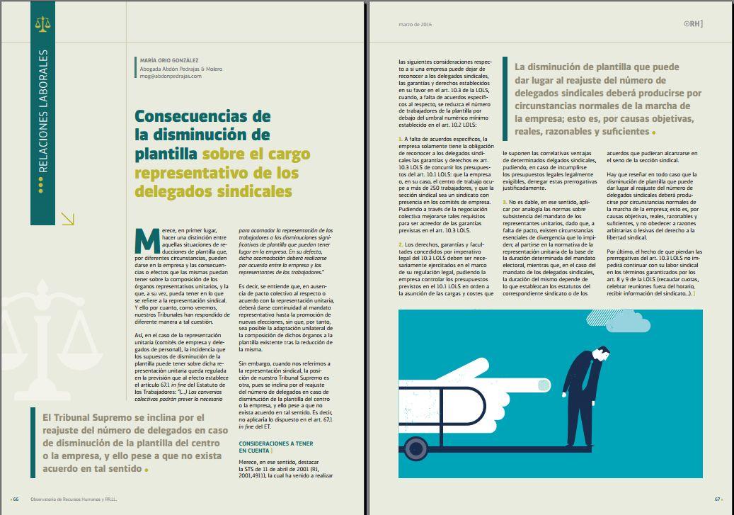 Consecuencias de la disminución de plantilla sobre el cargo representativo de los delegados sindicales - Revista Observatorio de RR.HH. - Marzo 2016