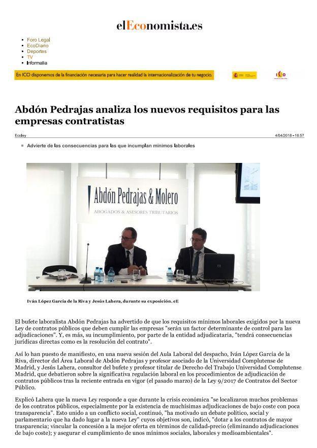 """""""Abdón Pedrajas analiza los nuevos requisitos para las empresas Contratistas"""" - El Economista.es"""