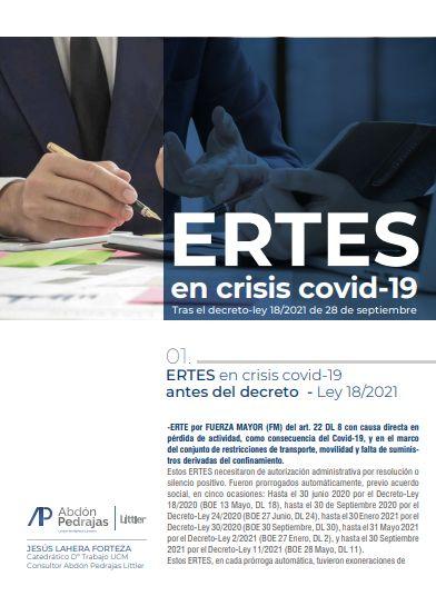 ERTES en crisis covid-19. Tras el decreto-ley 18/2021 de 28 de septiembre
