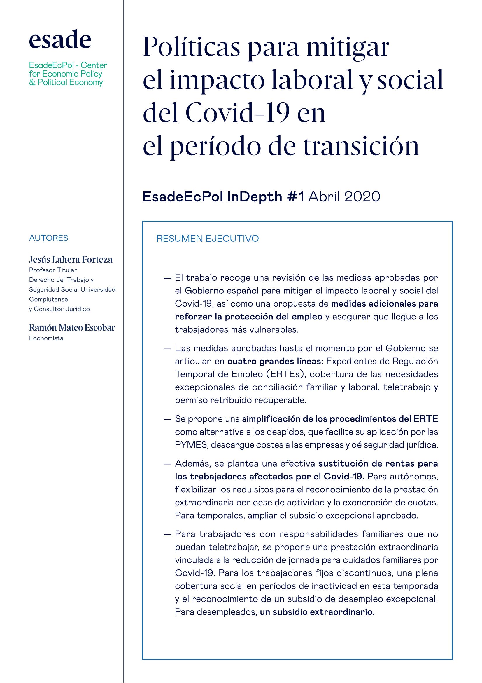 Políticas para Mitigar el Impacto Laboral y Social del Covid-19 en el Período de Transición
