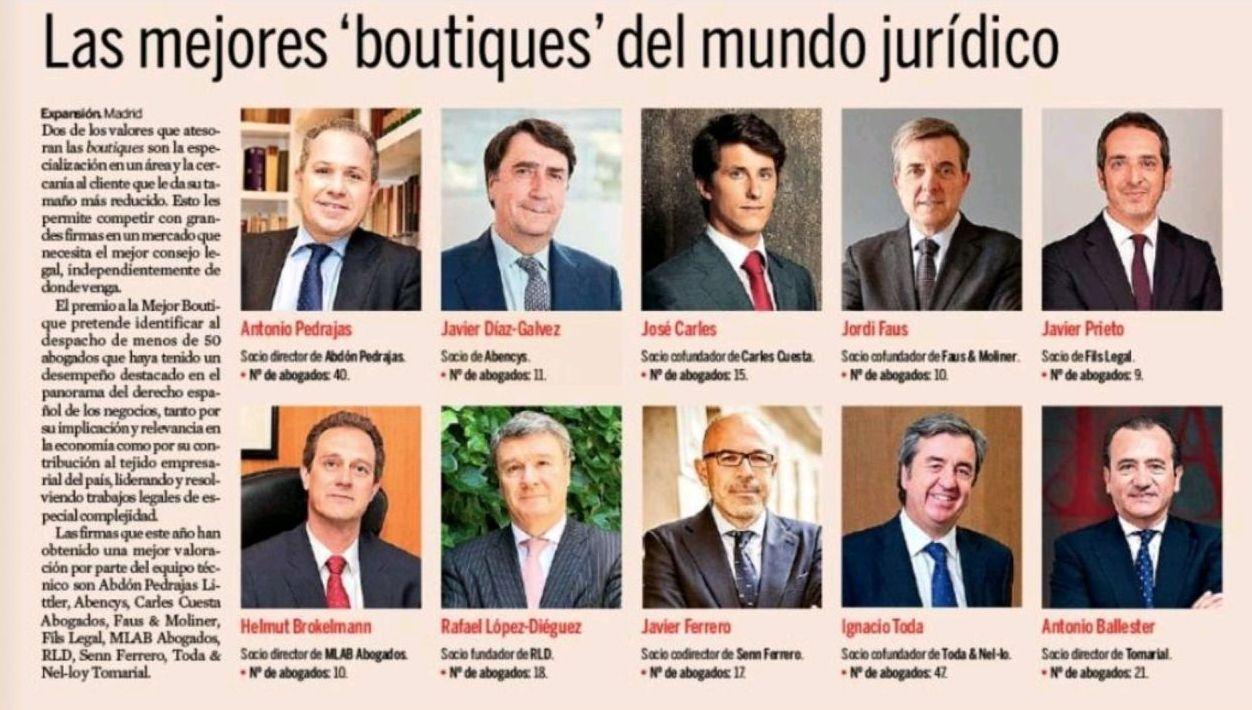 VI Edición Premios Jurídicos Expansión - Abdón Pedrajas nominada como mejor Boutique Legal de España 2021