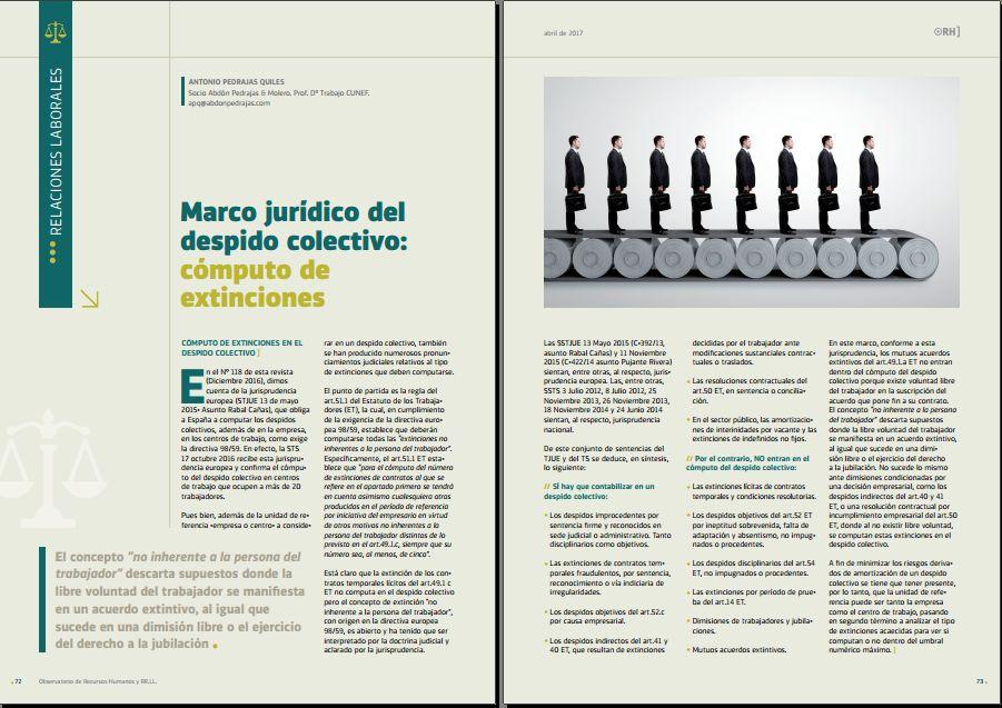 Marco jurídico del despido colectivo: cómputo de extinciones - Revista Observatorio RR.HH. - Abril 2017
