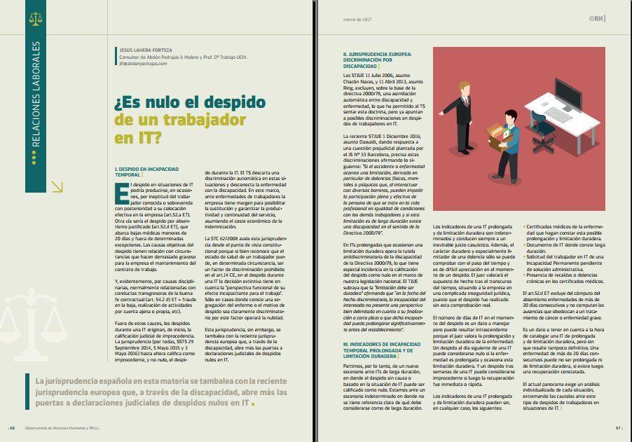 ¿Es nulo el despido de un trabajador en IT? - Revista Observatorio RR.HH. - Marzo 2017
